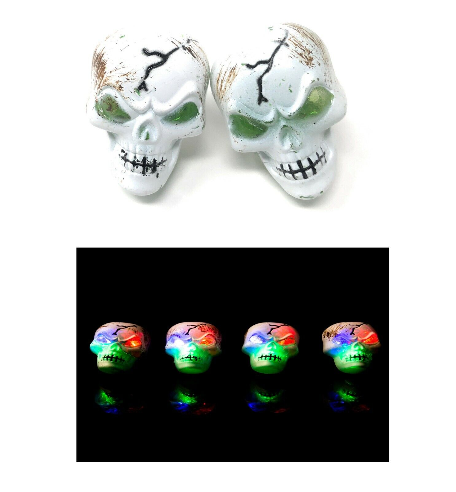48 Skeleton Flashing LED Plastic Rings Light Up Finger Glow Toy Party Bag Favors
