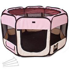 Parc à chiots chatons Enclos pliable rose transportable pour chiens ou chats