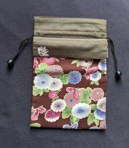 NEW Authentic Reversible Japanese Chirimen Yuzen Kimono style Pouch Bag