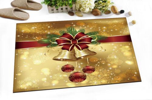 "24x16/"" Xmas Jingle Bell Non-slip Doormat Bathroom Rug Mat Door Home Decor Carpet"