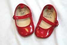 1aeec11ff3ec GAP Baby Girl Size 6-12 Months Red Scalloped Patent Mary Jane Flats Shoes