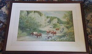 19-Secolo-Acquerello-di-bestiame-Mandriano-Firmato-Forse-Derbyshire