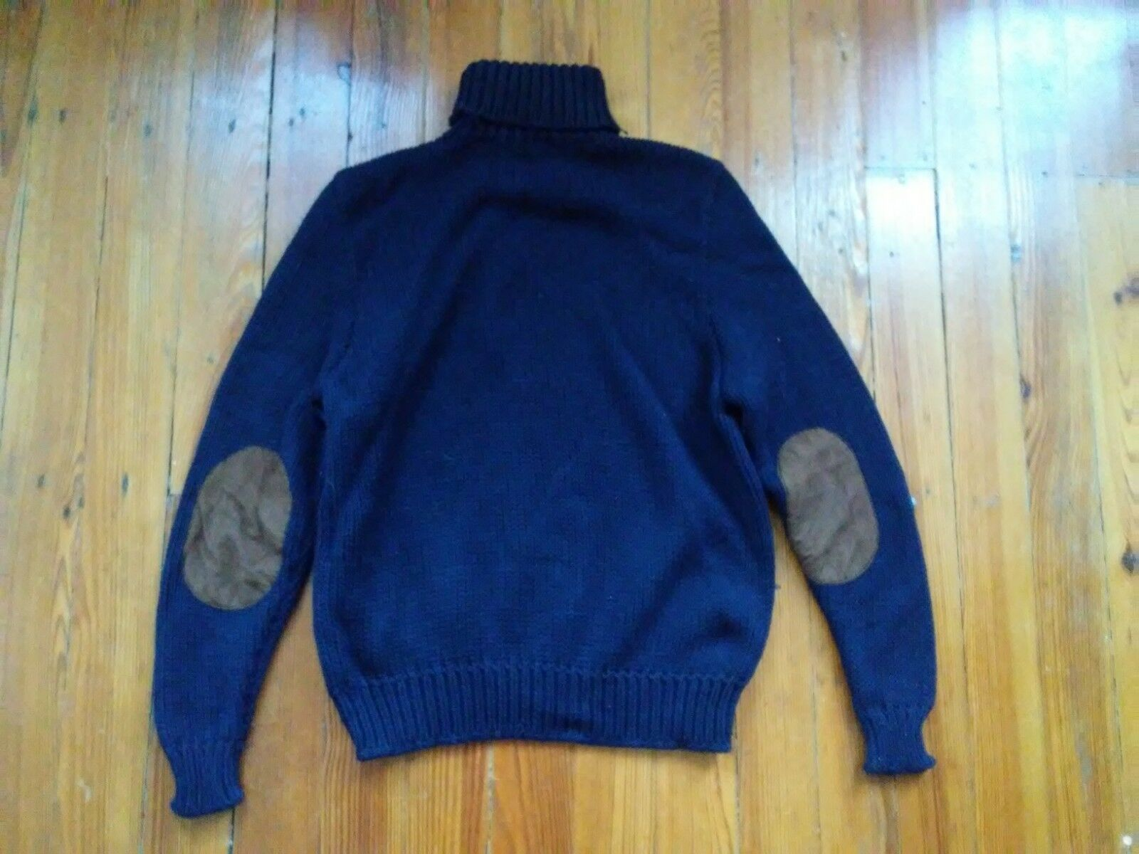 RL Polo chunky wool  cotton leather patch turtleneck Sweater  Sz XL. Classic