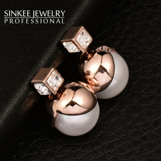 Trendy Women Double Sided Square Crystal White Pearl Stud Earrings High Quality