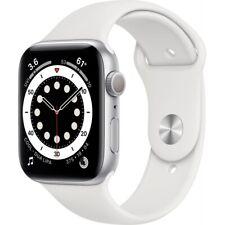 Apple Watch Series 6 Aluminium 44mm Smartwatch silber Sportarmband weiß