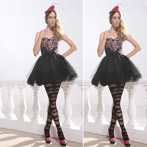 Women/'s Black Ripped Stretch Tights Stocking Glamorous Pantyhose Striped Hosiery