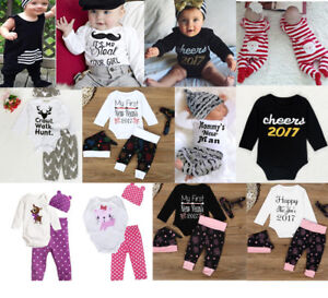 07a3e08cbe885 Details about 3pcs Toddler Newborn Baby Boy Girl T-shirt Tops Pants Outfits  Set Clothes lot UK