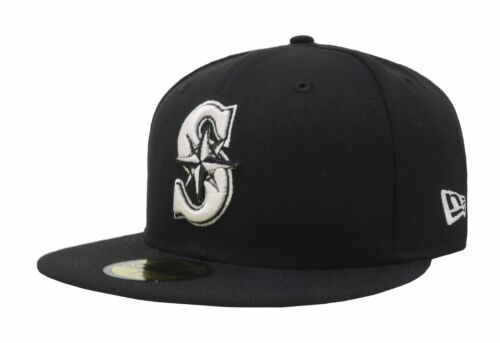 New Era Hat 59Fifty Basic Fitted MLB Baseball Seattle Mariners Black White Gray
