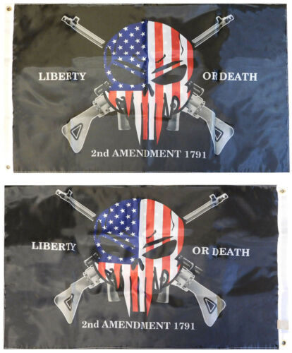2nd Amendment Demon Skull 1791 150D Double Sided Woven Poly Nylon 2x3 2/'x3/' Flag