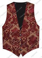 Steampunk Mens Gold Burgundy Gothic Western Pirate Brocade Vest Waistcoat