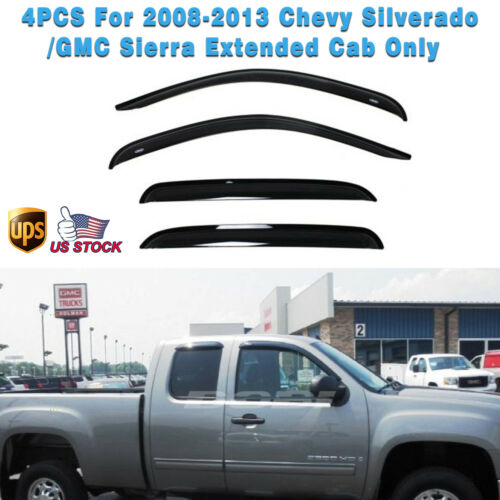 4PCS For 07-13 Chevy GMC Sierra Extended Cab Window Vent Shade Deflectors Visor
