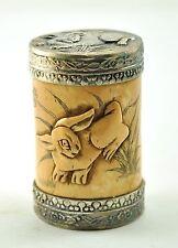 Vintage Chinese Bone Hand Carved Round Box Tibetan Silver Cap - Bunny Rabbit