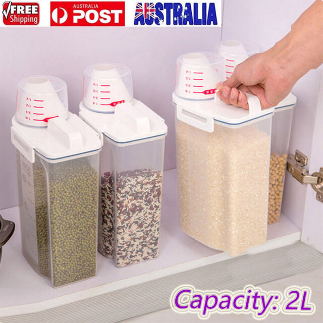 2L Plastic Cereal Dispenser Storage Box Kitchen Food Grain Rice Container Nice J