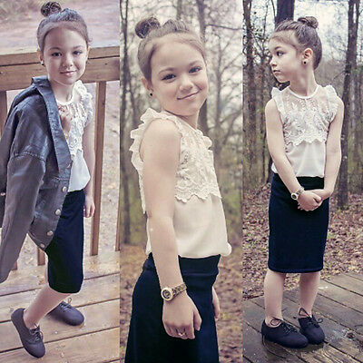 Graceful Kids Girls White Lace Floral Tops Shirt +Tunic Skirt 2pcs Outfits 4~11Y