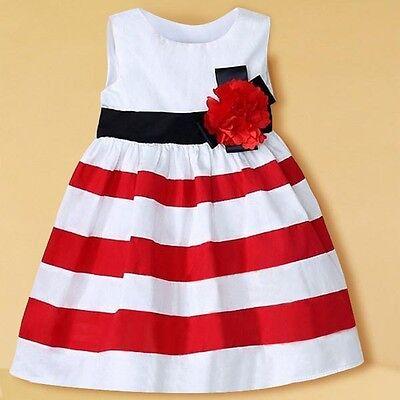 Chic Toddler Kid Girl Wide Stripe Sleeveless Dress Flower High Waist Beach Skirt