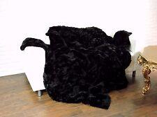 Luxury VERO CINCILLA' / REX pelli tiro coperta Nero 220cm x 200cm, i828