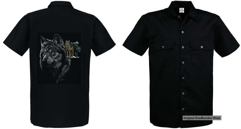 Maglietta Worker con un lupo animale & Motivo Natura modello tre lupi