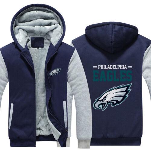 Philadelphia Eagles Fans Hoodie Fleece zip up Coat winter Jacket warm Sweatshirt