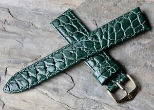 Crocodile-texture-green-stitched-leather-18mm-vintage-watch-band-1960s-70-Hirsch