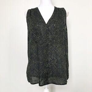 Converse-One-Star-Womens-Top-Green-Black-Print-Rayon-Sleeveless-Studded-Pocket-L