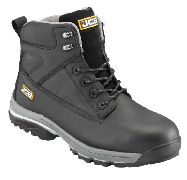JCB FAST TRACK Mens Leather S3 Safety Work Boots Waterproof Steel Toe Cap Size