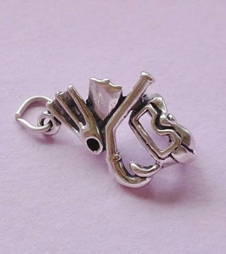 Snorkel Mask Flippers Snorkelling Charm Pendant STERLING SILVER