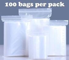 100 Bags Small Clear Reclosable Zip Seal Top Lock T Shirt Plastic Zipper Bag