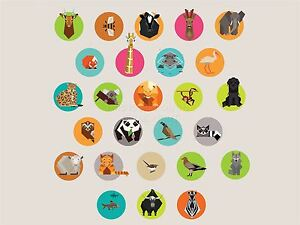 ART-PRINT-POSTER-PAINTING-DRAWING-ANIMAL-BADGE-COLLAGE-CHILDREN-KIDS-LFMP0392