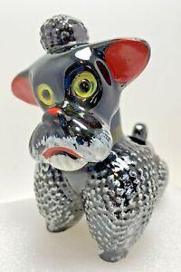Vintage Planter Poodle Dog Ceramic Pottery Redware Black White & Red 1950's