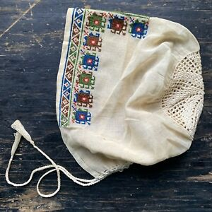 Antique 19th C Victorian Ottoman Turkish Embroidery Baby Bonnet Cotton Lace Doll