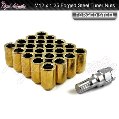 M12 x 1.25 Tuner Nuts for Alloy Wheels Slim Internal Drive Forged Steel Gold