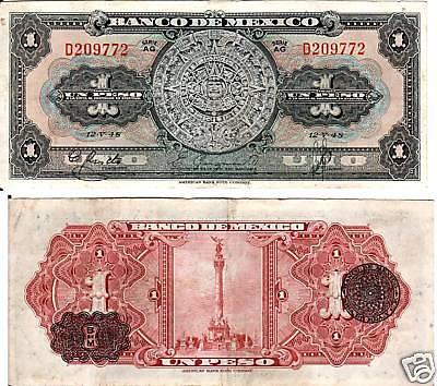 Search For Flights Mexico $ 1 Pesos Banco De Mexico Ag.12.v.48 Serial D209772 P-38d Coins & Paper Money