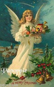 Christmas Angels.Details About Victorian Christmas Angels Vintage Fabric Block