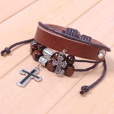 Men's Adjustable Cool Cross Pendants Wooden Beads Leather Bracelet 4 - Layers D4