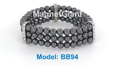 Elastic Triple high power magnetic beaded bracelet - high quality Black Hematite