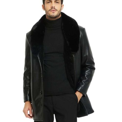 Jacket Men/'s Parka Coat Padded Winter Warm PU Leather Overcoat Outwear Thicken