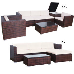 Svita Polyrattan Lounge Gartenmöbel Set Sofa Couch Garnitur Rattan ...
