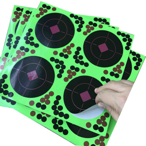 25Pcs Self-Adhesive Shooting Targets 8x8inch Glow Fluorescent Paper Target