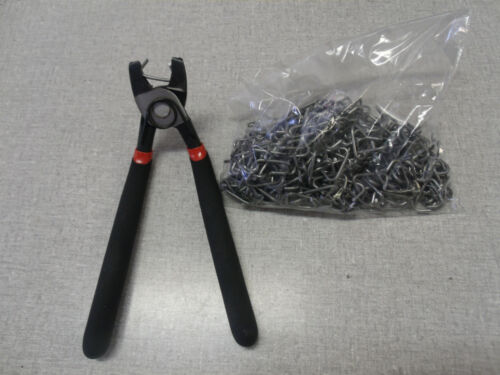hog ring pliers and bag of hog rings for auto upholstery seat covers installatio