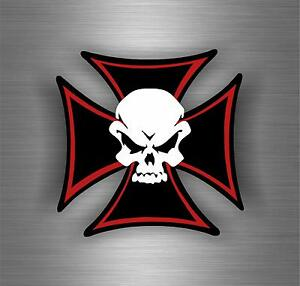 Sticker Car Motorcycle Helmet Decal Chopper Maltese Cross Skull - Motorcycle helmet decals and stickers