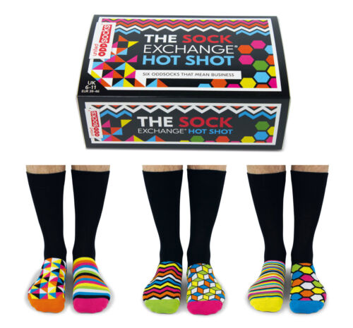United Oddsocks sei da Uomo Hot Shot Business Calzini Spaiati UK 6-11 idea regalo in scatola