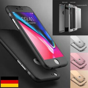 HÜLLE 360 FULLCOVER CASE FUR IPHONE 6 7 8 SCHUTZ GLASS BUMPER KOMPLETTSCH TASCHE