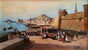 Quadro Dipinto Olio su tela firmato Paesaggio con figure Marina Napoli Antica