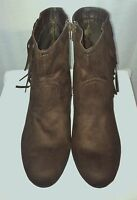 Sz 11 Cato Chocolate Brown Suede Look Ankle Boots W/fringe -