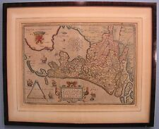 Framed Authentic 1598 Abraham Ortelius Antique Map of Holland - Hollandia
