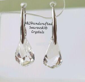 925-Silver-Crystal-Drop-Swarovski-Earrings-Genuine-Swarovski-element-Clear