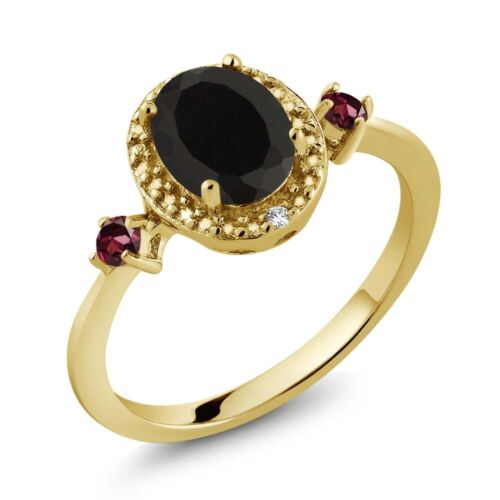 1.44 Ct Oval Black Onyx 18K Yellow Gold Plated Silver Ring With Accent Diamond