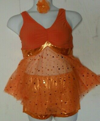 NEW CONTEMPORARY DANCE COSTUME Foil Booty Short Sparkle Mesh Top Orange Ch//Adult