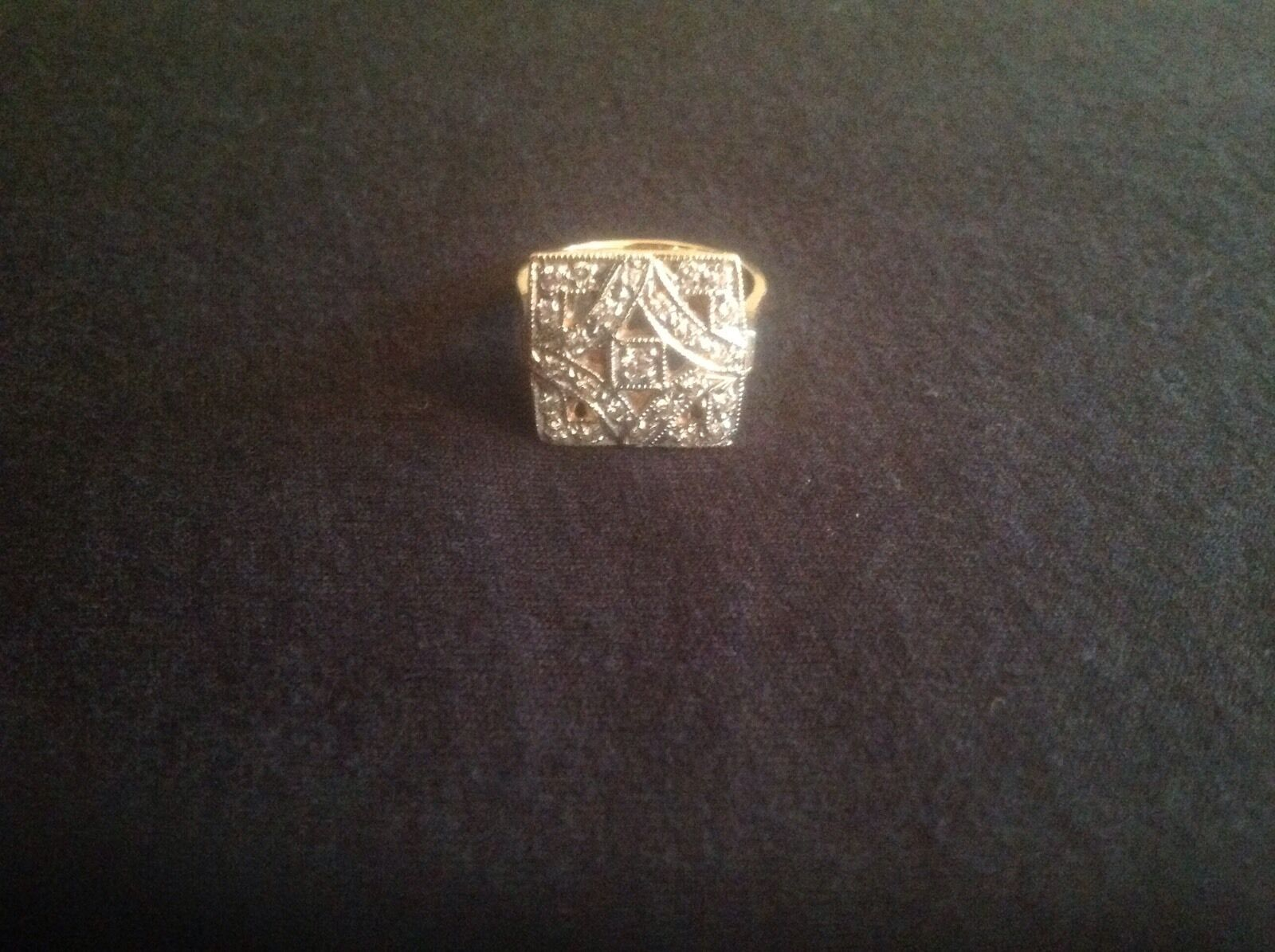 Ladies Square Diamond and Yellow gold Ring