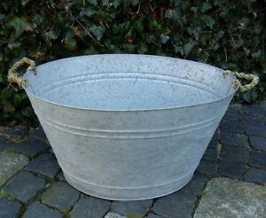 Grande Baignoire Zinc 30 Litre Style Rustique Ancien Nostalgie Pot A
